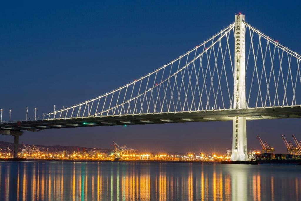 San Francisco's Bay Bridge at Night.