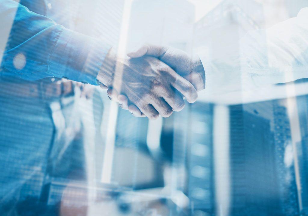 Handshake between two business men