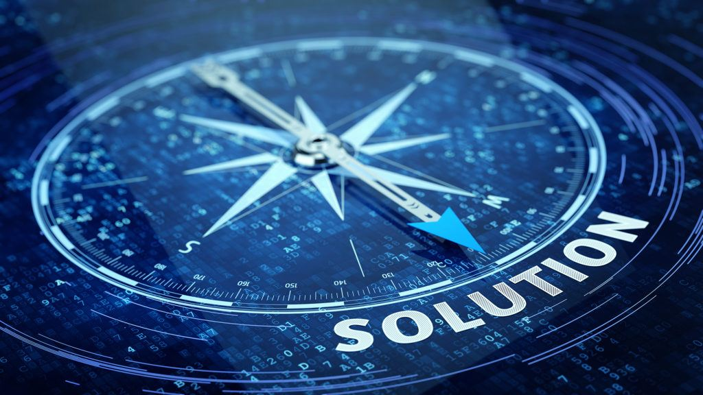 Compass pointing towards solution