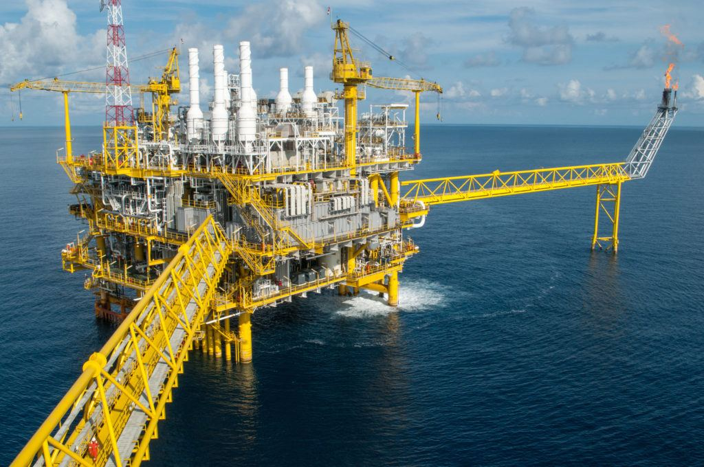 Oil platform out at sea