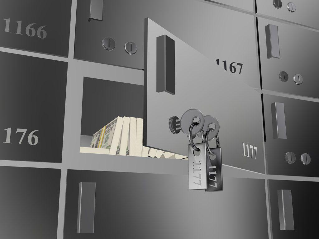 Money inside a safety deposit box