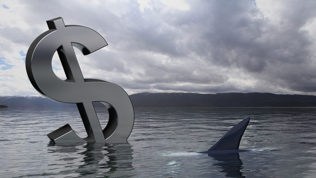Dollar symbol sinking in the water