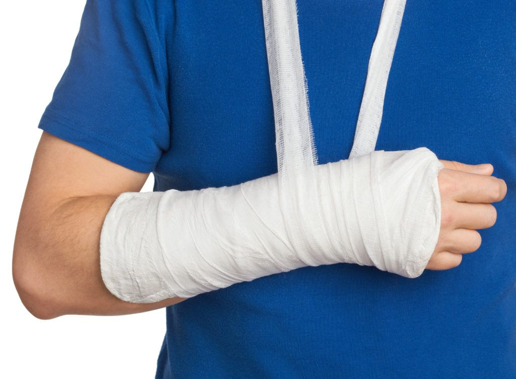 Arm injury wrapped in cast and sling